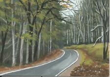 """Aceo original acrylic painting """"Trail through the Woods"""" by J. Hutson"""