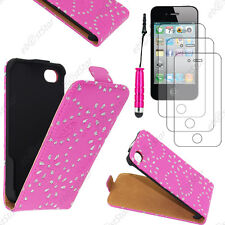 Etui en PU cuir flip avec STRASS Rose Apple iPhone 4S 4+Mini Stylet+3 Film écran