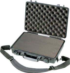 New Black Pelican ™ 1470 Attache Style Small Computer case with foam+ nameplate