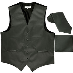 New Men's Dark gray formal vest Tuxedo Waistcoat_necktie & hankie set wedding