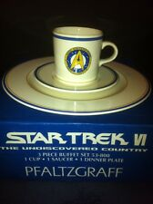 Pfaltzgraff Star Trek Vi 3 Piece Buffet Set,Never Used In Box 1993 Plate.mug