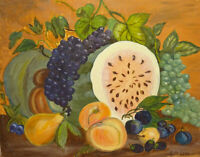 1968 Primitive Folk Art Fruit Still Life Oil Painting Watermelon 16x20 R. McLeod