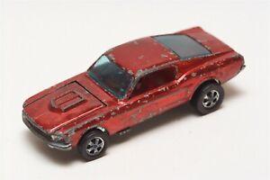 J43 Vintage Mattel Hot Wheels Redline 1968 HK Early Red Custom Mustang Red Int.
