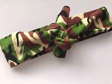 Girls Kids Baby Green Army Camo camouflage bowknot Headband Hair Band bandana