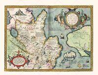 Map Antique 1584 Ortelius Oriental Tartary China Replica Canvas Art Print