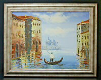 Venice Gondola Scene 12 x 16 Oil Painting on Canvas w/ Custom Made Frame