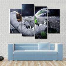 Landscape Wall Art Astronaut Rest at Moon Drink Beer Canvas Print Home Decor 4 P