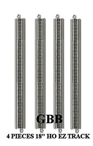 "4 Pcs HO Scale 18"" Special Bachmann Nickel Silver E-Z Snap Track 44588 New"