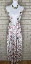 Vtg 1980s Olga Floral Print Nylon & Lace Night Gown Size Medium Cottage Core