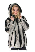 Womens Real Rex Rabbit Fur Jacket Hooded Parka Chinchillette©