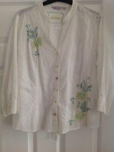 Ladies Per Una White Cotton Blouse, size 14