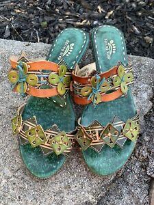 Spring Step Sandals Savory 36 Green Leather Multi Slides Boho Retro Dress ECU