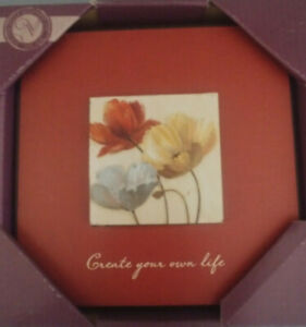 """Inspirational Wall Plaque Mat Layered """"Create your own Life""""  POPPY PALETTE NEW"""