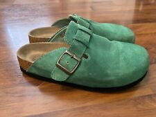 Womens Size 7 White Mountain Green Leather Clogs Suede Cork Sole