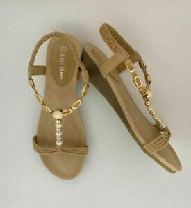 Sandal women's wedge shoe designer auyi bridal pearl beaded beige