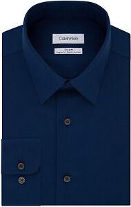 New Mens Calvin Klein Steel Regular Fit Navy Stretch Dress Shirt 18 36/37 XXL