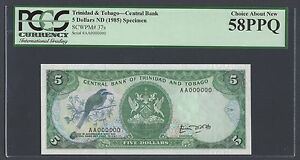 Trinidad and Tobago 5 Dollars 1985 P37as Specimen About Uncirculated