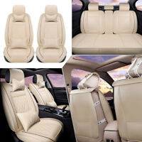Beige Car Seat Cover PU Leather Front & Rear Auto W/Neck Lumbar Pillow 5 Seats M
