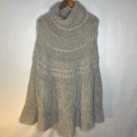 GIO & GIO Italy Poncho Knit Sweater Wool blend Tan Cape Size L/XL Sand Brown