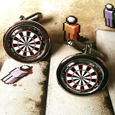 Unique DART BOARD CUFFLINKS chrome DARTBOARD pub SPORT game NOVELTY men GIFT