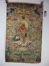 altes Buddha Gott Jambhala Thangka Gemälde Tempel d Sinne Seide 90cm Tibet ~1970