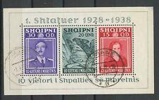 ALBANIA, SOUVENIR SHEET F/VF USED 1938