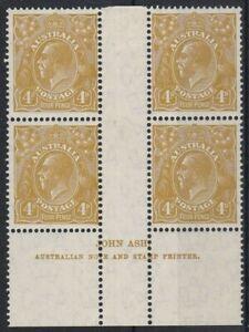 G721) Australia 1933 C of A watermark KGV 4d Olive N over N Ash imprint block