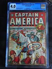 CAPTAIN AMERICA COMICS #25 CGC VG 4.0; CM-OW; classic WW II Skiing cover (4/43)!