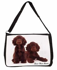 Chocolate Cocker Spaniels 'Love You Mum' Large Black Laptop Shoulde, AD-SC9lymSB