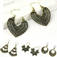 1 Pair Women's Vintage Bronze Silver Retro Long Earrings Drop Dangle Jewelry