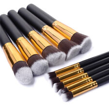 Glamza 10PC Black Gold Makeup Brushes Set Make Up Foundation Eye Case Comestic