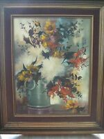 BEAUTIFUL ORIGINAL OIL PAINTING FLORAL STILL LIFE BY PAUL W/WOODEN FRAME, SIGNED