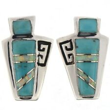 Inlaid Silver Corn Maiden Turquoise Opal Post Earrings