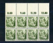 WÜRTTEMBERG Nr.6 ** Oberrand-8er-Block LEERFELDER !!! (103670)