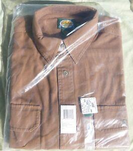 NIB Cabela's Long Sleeve Stonewash Canvas Brown Button Down Shirt Men's Large