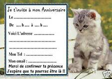 5 cartes invitation anniversaire chat 04  d'autres cartes anniversaire en vente