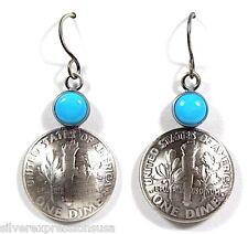 Vintage Sterling Silver Mercury Dime Coin Earrings w/ Sleeping Beauty Turquoise