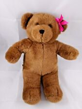 "Build a Bear Workshop Brown Bear Plush 15"" Pink Bow Babw Stuffed Animal"