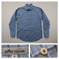 Peter Millar Mens Blue Plaid Long Sleeve Button Front Dress Shirt Stretch Medium
