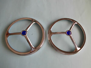 """5 3/4"""" CHROME TRI BAR HEADLIGHT COVERS WITH BLUE DOTS HOLDEN FORD CHEV HOTROD"""