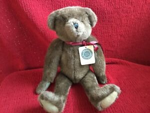 """Boyds Bear 1990 Archive collection 16"""" Brown Jointed bear Red Maroon Ribbon Bow"""