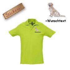Camiseta Polo Algodón Bordado Golden Retriever 2 + Texto personalizado