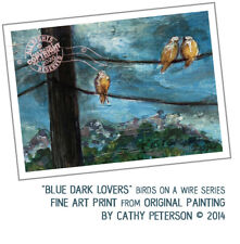 Blue Dark Lovers 2014 C Peterson ART PRINT hand signed from ACEO Painting birds
