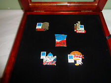 2004 Athens Coca-Cola - Olympic Pin Set - Coke with Wood Frame