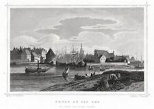 EMDEN. Gesamtansicht mit Hafen. Originaler Stahlstich um 1850