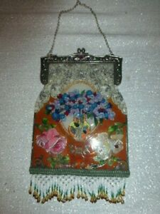 "Gorgeous AMIA Hand Painted Stained Glass Suncatcher Purse Shape Bead Fringe10x6"""
