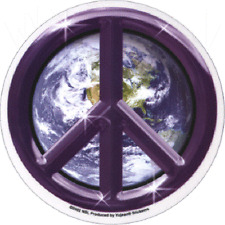 11262 Purple Earth Peace Sign Round World Planet Transparent Sticker / Decal