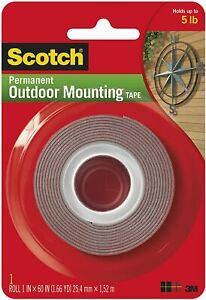 3M 76274 4011 Scotch Exterior Outdoor Mounting Tape, 1-Inch by 60-Inch
