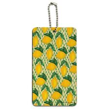 Lots of Lemons Pattern Wood Luggage Card Suitcase Carry-On ID Tag