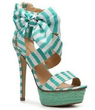 Zigi Soho ~ Khloe Green Striped Bow Sandal Heels ~ Size 7 ~ New